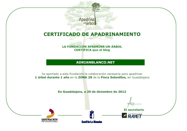 Certificado Apadrina un Arbol